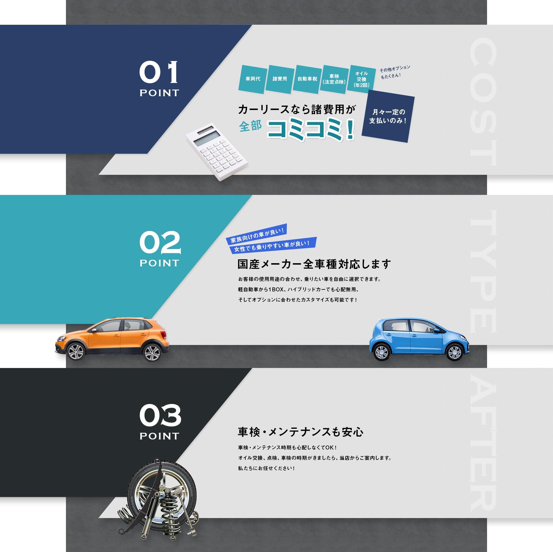 01カーリースなら諸費用が全部コミコミ! 02国産メーカー全車種対応します 03車検・メンテナンスも安心